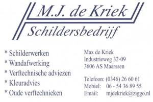 Bedrijfsgegevens M.J. de Kriek schildersbedrijf